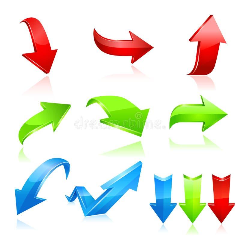 箭头绿色图标红色系列集 向量 库存例证