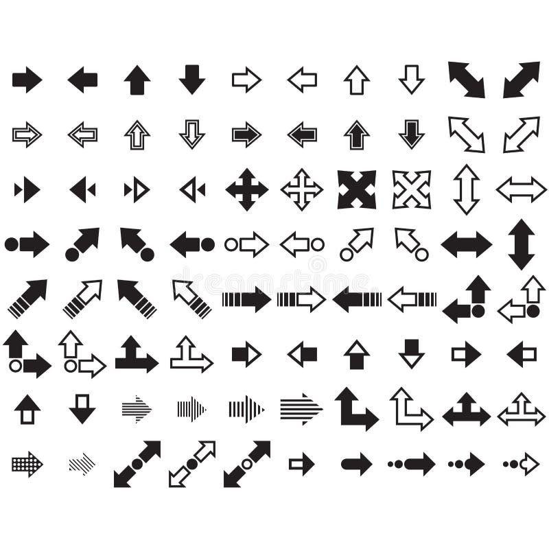 箭头被设置的向量 80个箭头 免版税库存照片