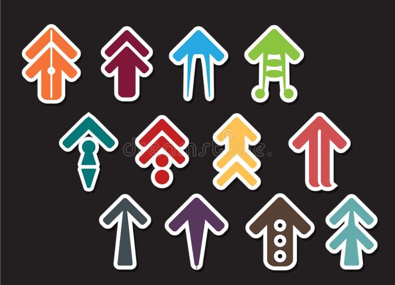 箭头集合或箭头汇集设计 向量例证
