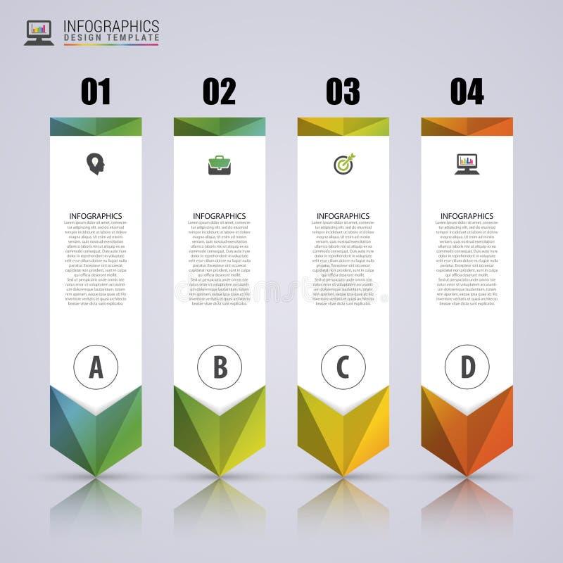 箭头Infographic模板 最小的五颜六色的被编号的横幅 皇族释放例证