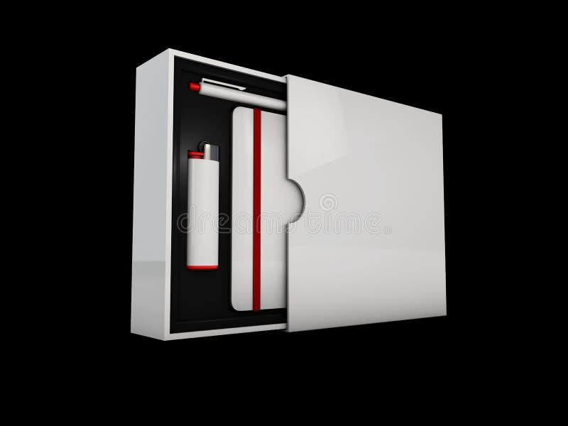 箱子丝毫元素公司本体的例证,设置了办公室文具 库存例证