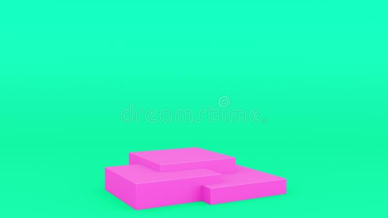 箱子几何指挥台回报现代minimalistic嘲笑的桃红色和绿色场面最小的3d,空白的模板,空的陈列室 皇族释放例证