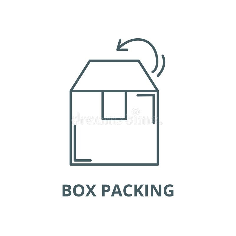 箱子包装的传染媒介线象,线性概念,概述标志,标志 向量例证