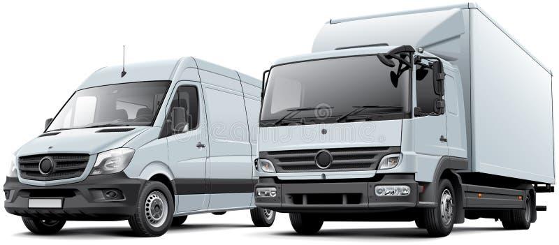 箱子卡车和交付物品搬运车 皇族释放例证