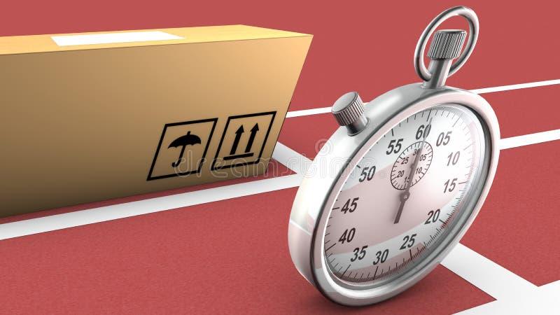 箱子和秒表赛跑。这象征准时交付 库存例证