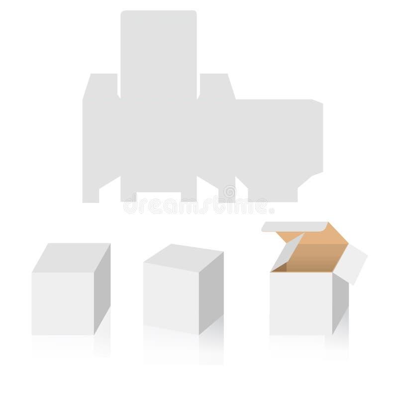 箱子大模型3d透视图和箱子模板创造  易使用和为设计修改例如礼物盒或包装 库存例证