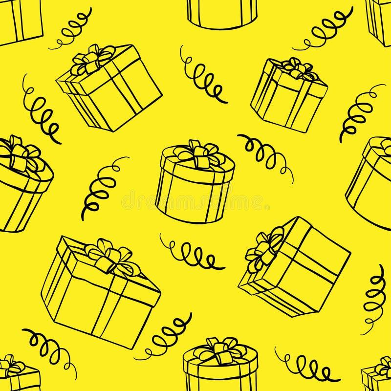 箱子无缝的背景有礼物的 库存例证