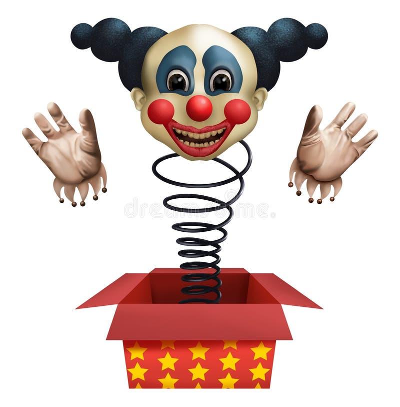 从箱子的小丑 免版税库存图片