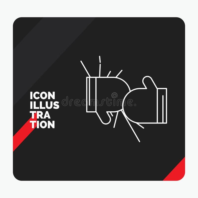 箱子的红色和黑创造性的介绍背景,拳击,竞争,战斗,手套排行象 向量例证