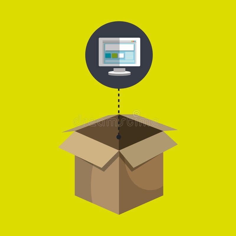 箱子纸盒屏幕个人计算机膝上型计算机 库存例证