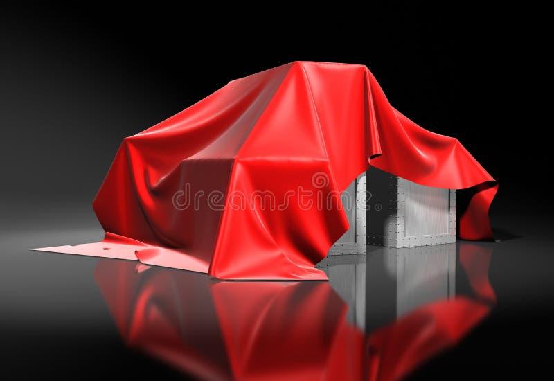 箱子被盖从一块红色丝绸布料上 库存例证