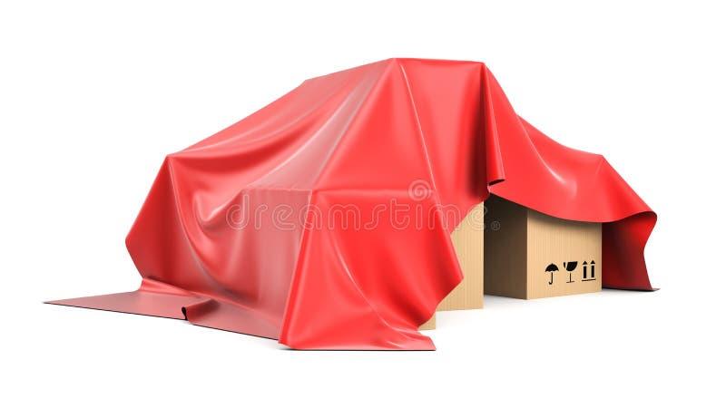 箱子被盖从一块红色丝绸布料上 皇族释放例证