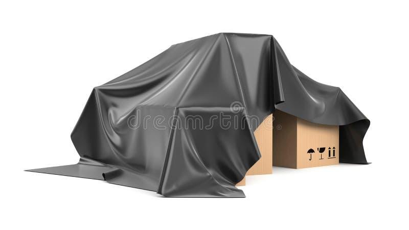 箱子被盖从一块黑丝绸布料上 向量例证