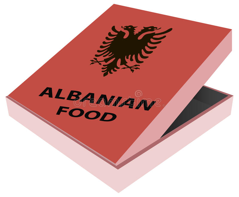 箱子阿尔巴尼亚人食物 向量例证