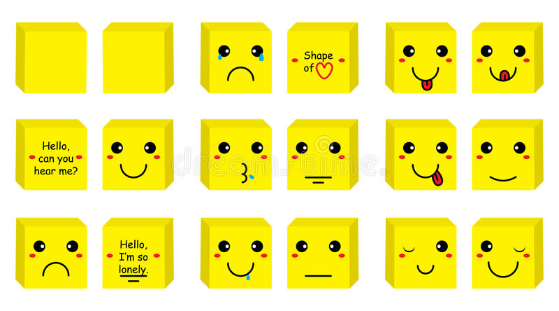 箱子面带笑容集合 向量例证