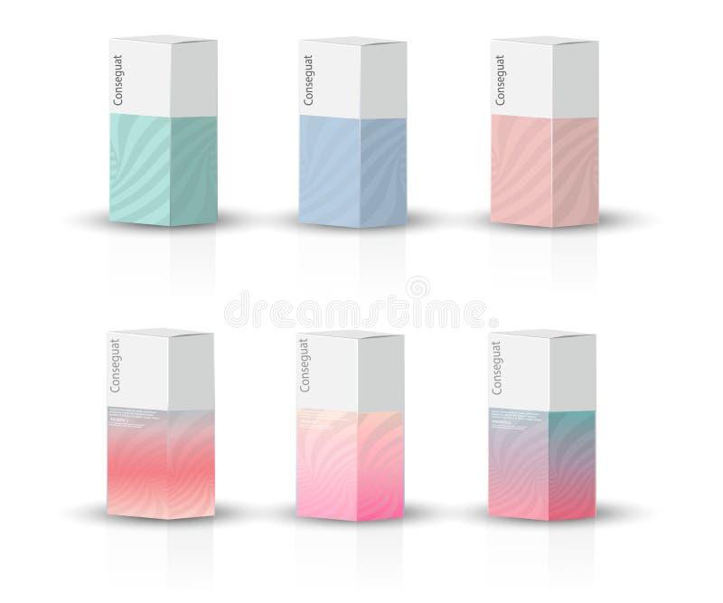 箱子,产品传染媒介设计例证的包装的模板 库存例证