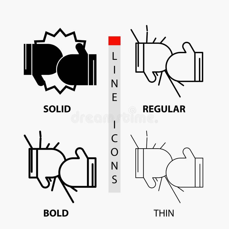 箱子,拳击,竞争,战斗,在稀薄,规则,大胆的线和纵的沟纹样式的手套象 r 库存例证