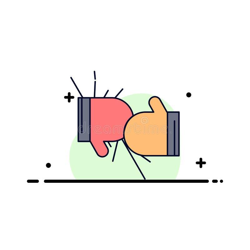 箱子,拳击,竞争,战斗,手套平的颜色象传染媒介 向量例证