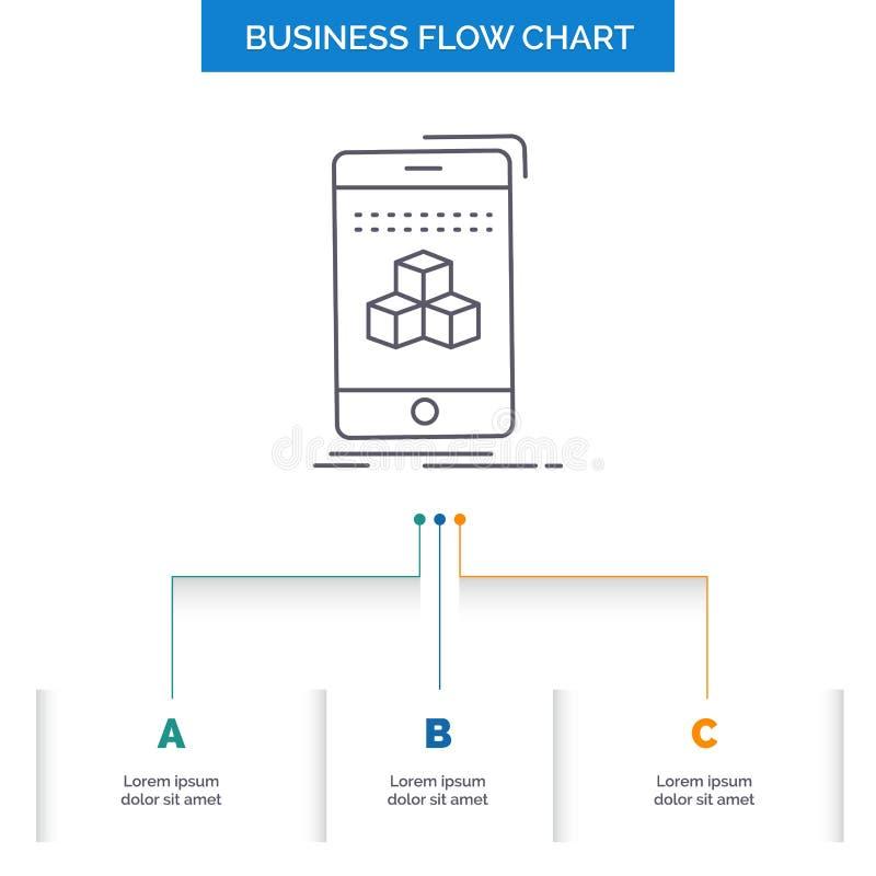 箱子,3d,立方体,智能手机,产品企业与3步的流程图设计 r 库存例证