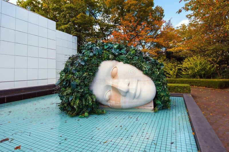 箱根,日本- 2017年11月5日:头露天博物馆的雕塑 复制文本的空间 免版税图库摄影