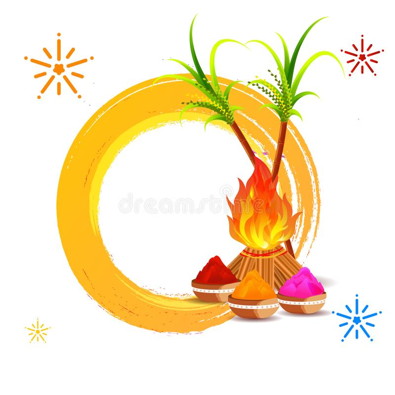篝火、甘蔗与碗干燥彩色插图和抽象刷子冲程在白色背景与空间您的 库存例证