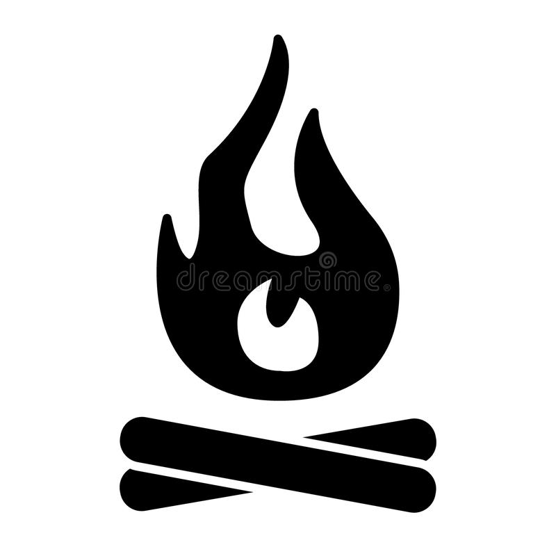 篝火固体象 火在白色隔绝的传染媒介例证 火焰纵的沟纹样式设计,设计为网和app EPS 向量例证