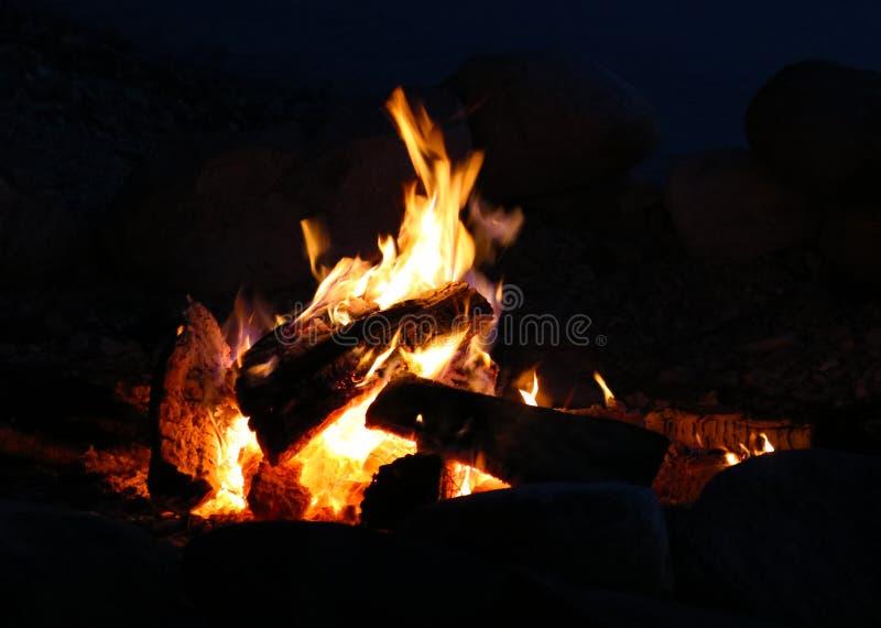 篝火在夏夜期间在密执安 库存图片