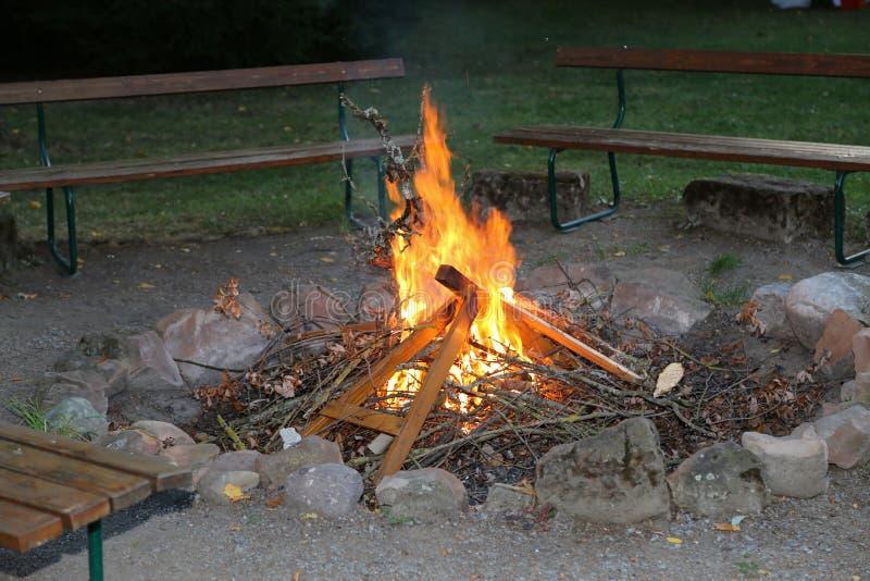 篝火在夏夜 免版税库存图片