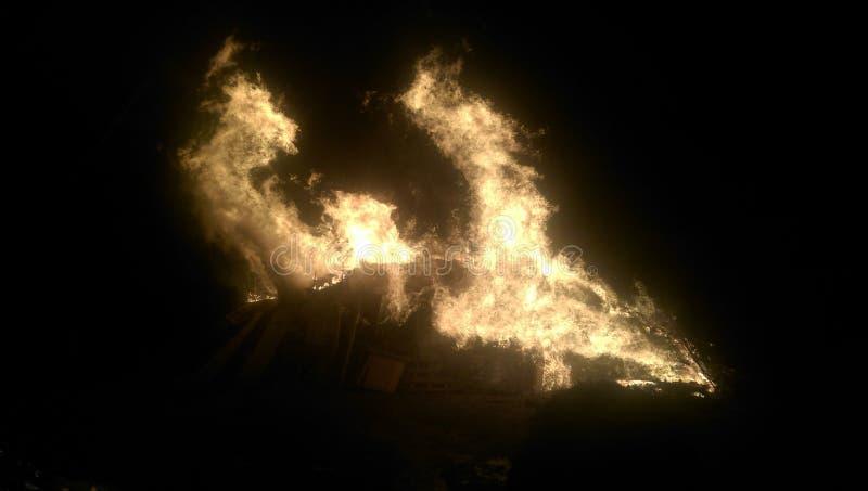 篝火夜 库存照片