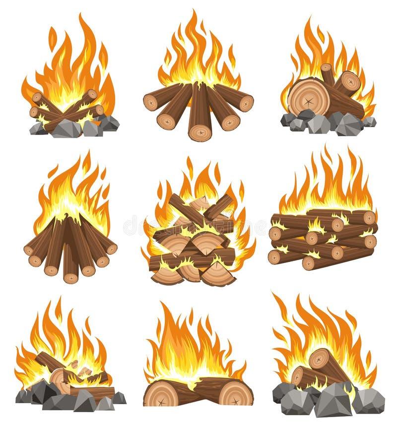 篝火木柴集合 向量例证