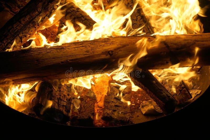 篝火烧在黑暗的,火焰接近  免版税图库摄影