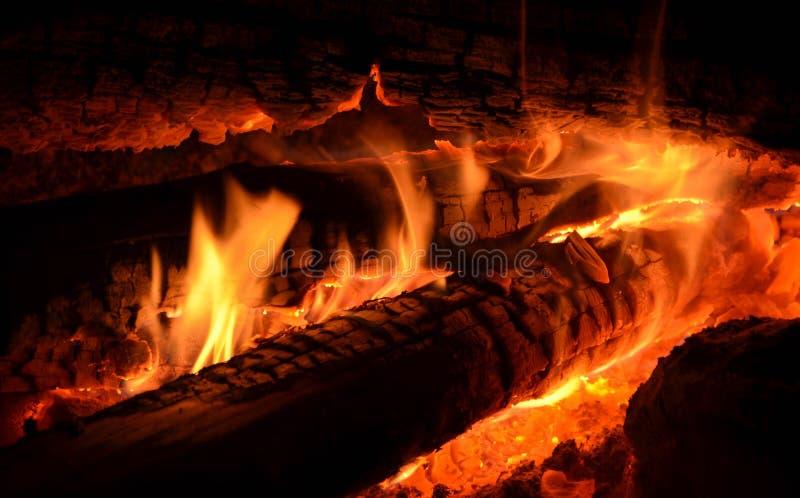 篝火燃烧木头的关闭晚上 库存图片