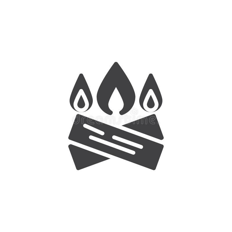 篝火燃烧的传染媒介象 向量例证