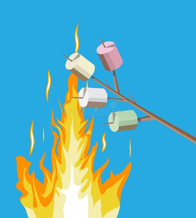 篝火用蛋白软糖 日志和火 皇族释放例证