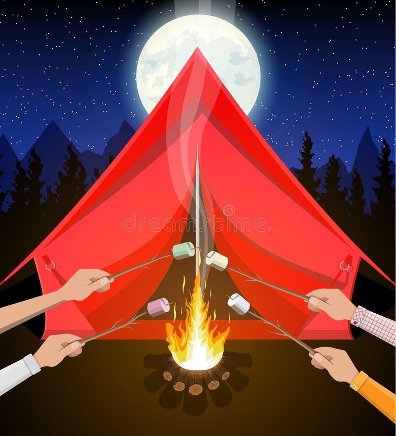篝火用蛋白软糖 日志和火 向量例证