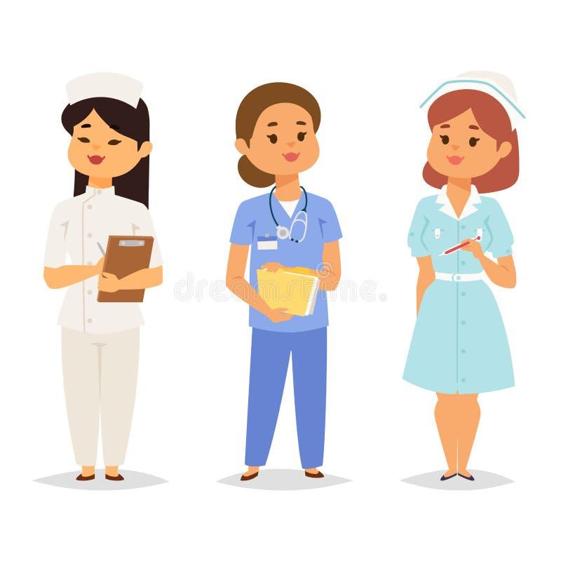篡改护士字符传染媒介医疗妇女职员平的设计医院队人博士学位例证 库存例证