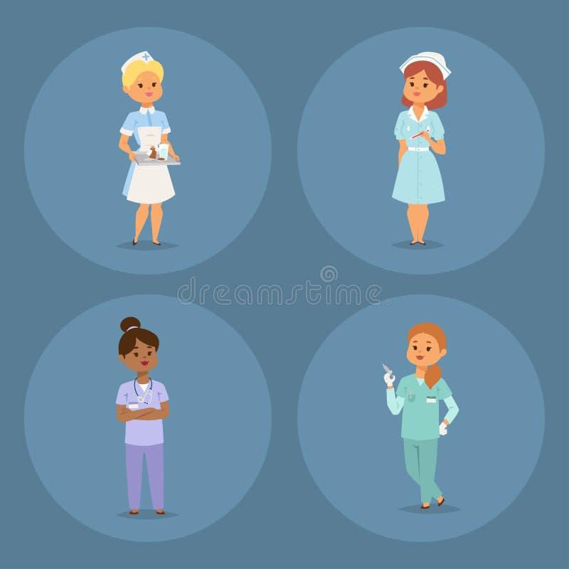 篡改护士字符传染媒介医疗妇女职员平的设计医院队人博士学位例证 向量例证