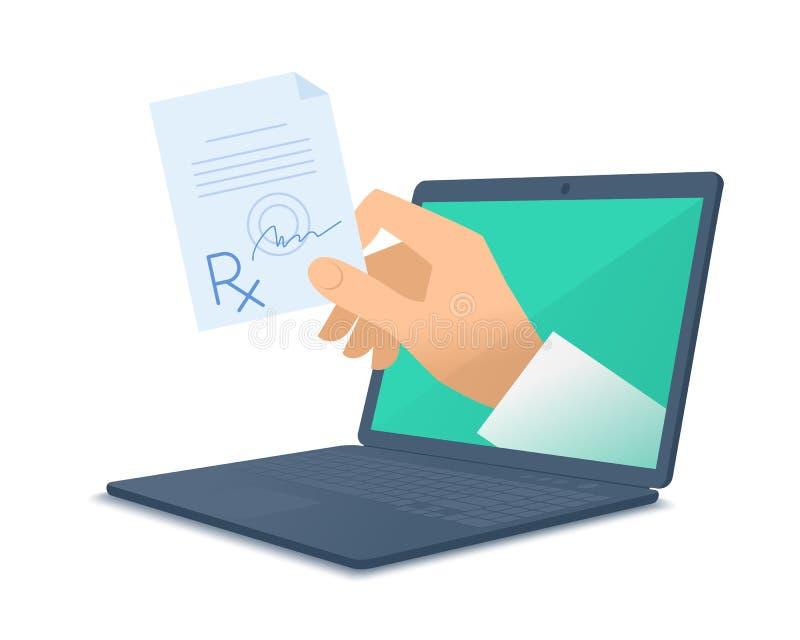 篡改拿着rx的` s手通过给prescr的膝上型计算机屏幕 库存例证