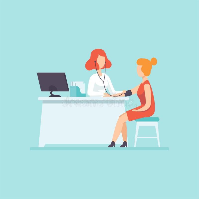 篡改测量的血压在女性患者、药物治疗和医疗保健概念传染媒介例证 皇族释放例证