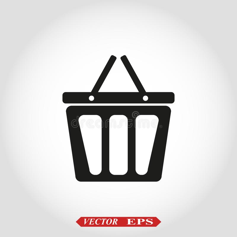 篮子传染媒介象,在白色背景隔绝的购物的标志 网店或e商店概念 r 皇族释放例证