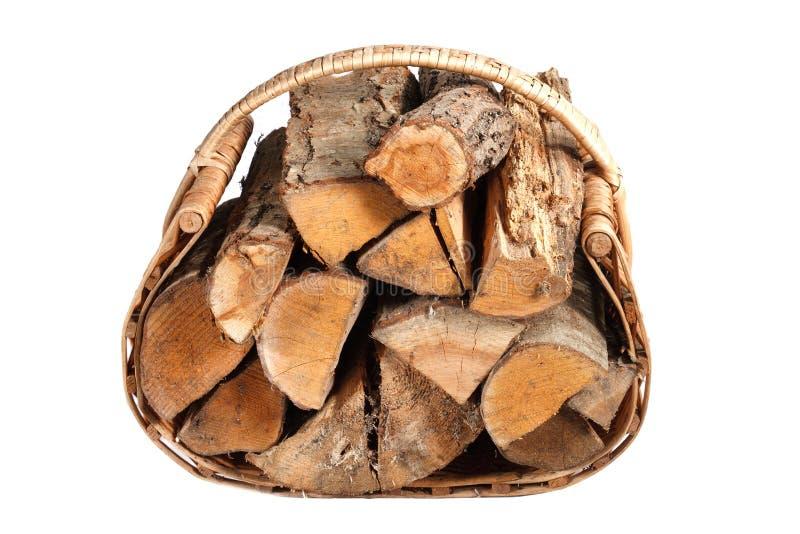 篮子切好的木柴柳条 库存图片