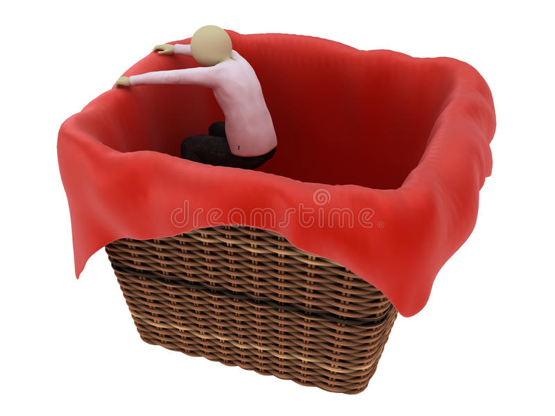篮子吊人 库存图片