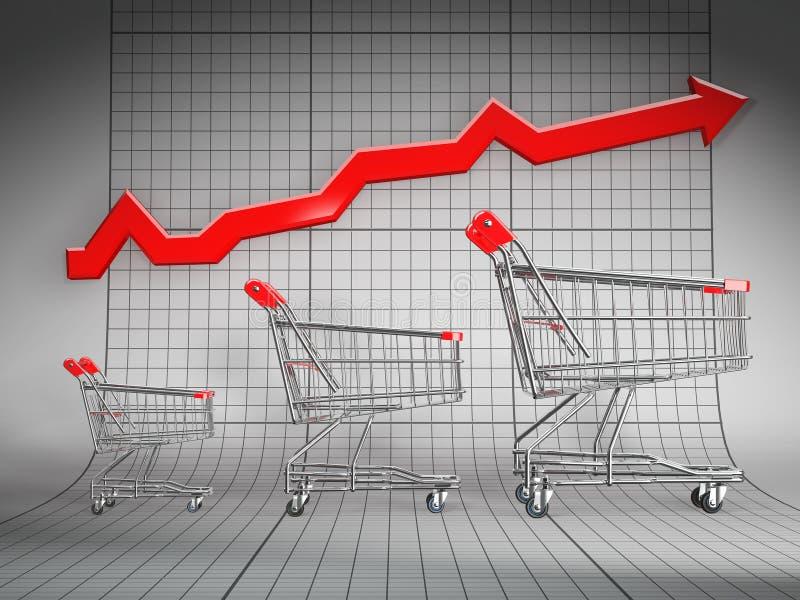 篮子图形增长销售额购物 向量例证