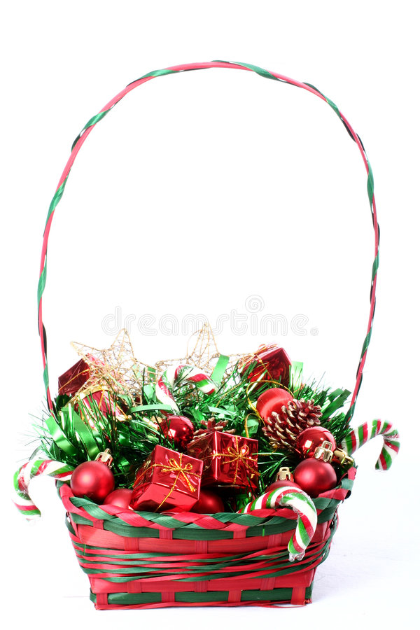 篮子圣诞节装饰 图库摄影