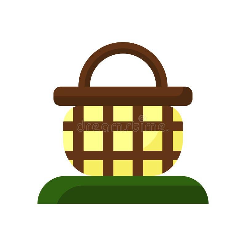 篮子在白色背景隔绝的象传染媒介,篮子标志,五颜六色的标志 向量例证