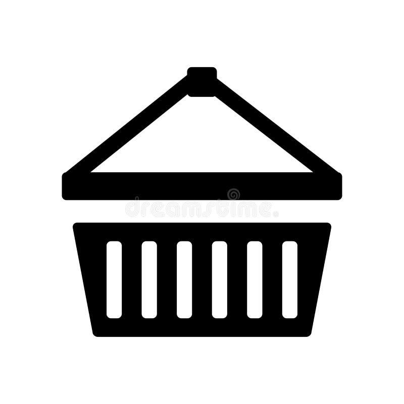 篮子在白色背景隔绝的象传染媒介,篮子标志,食物标志 皇族释放例证