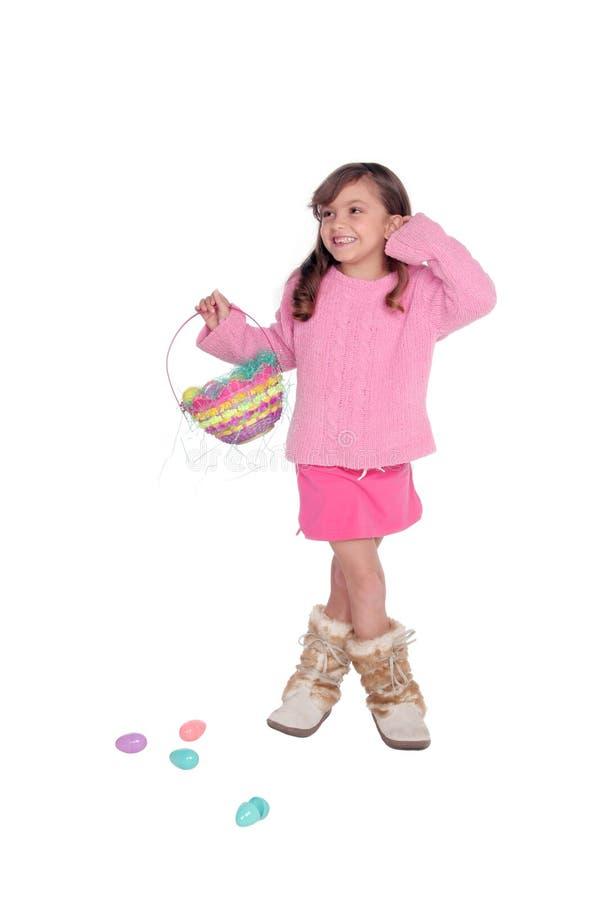 篮子复活节女孩 免版税图库摄影
