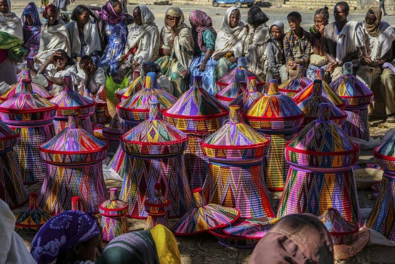 篮子市场在Aksum,埃塞俄比亚 免版税库存照片