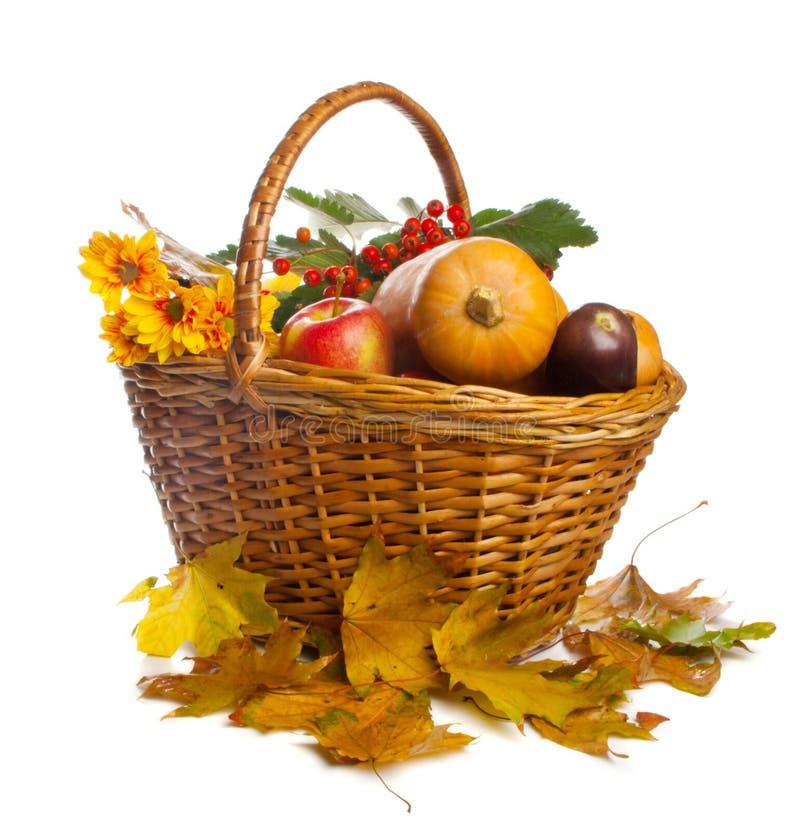 篮子果子查出蔬菜 免版税库存照片
