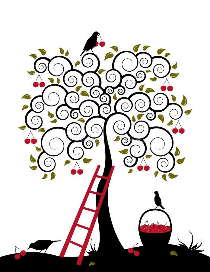 篮子樱桃樱桃树 库存例证